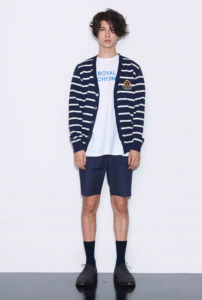 STRIPE KNIT CARDIGAN(NAVY)