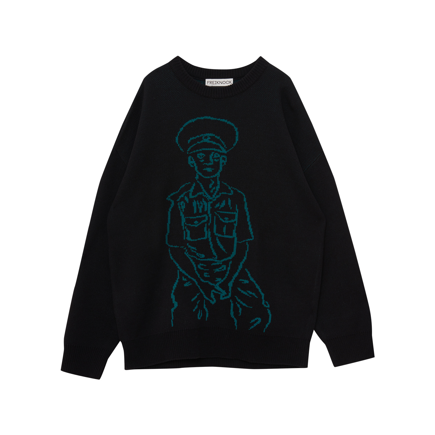 POLICE MAN DRAWING KNIT PULLOVER(BLACK)