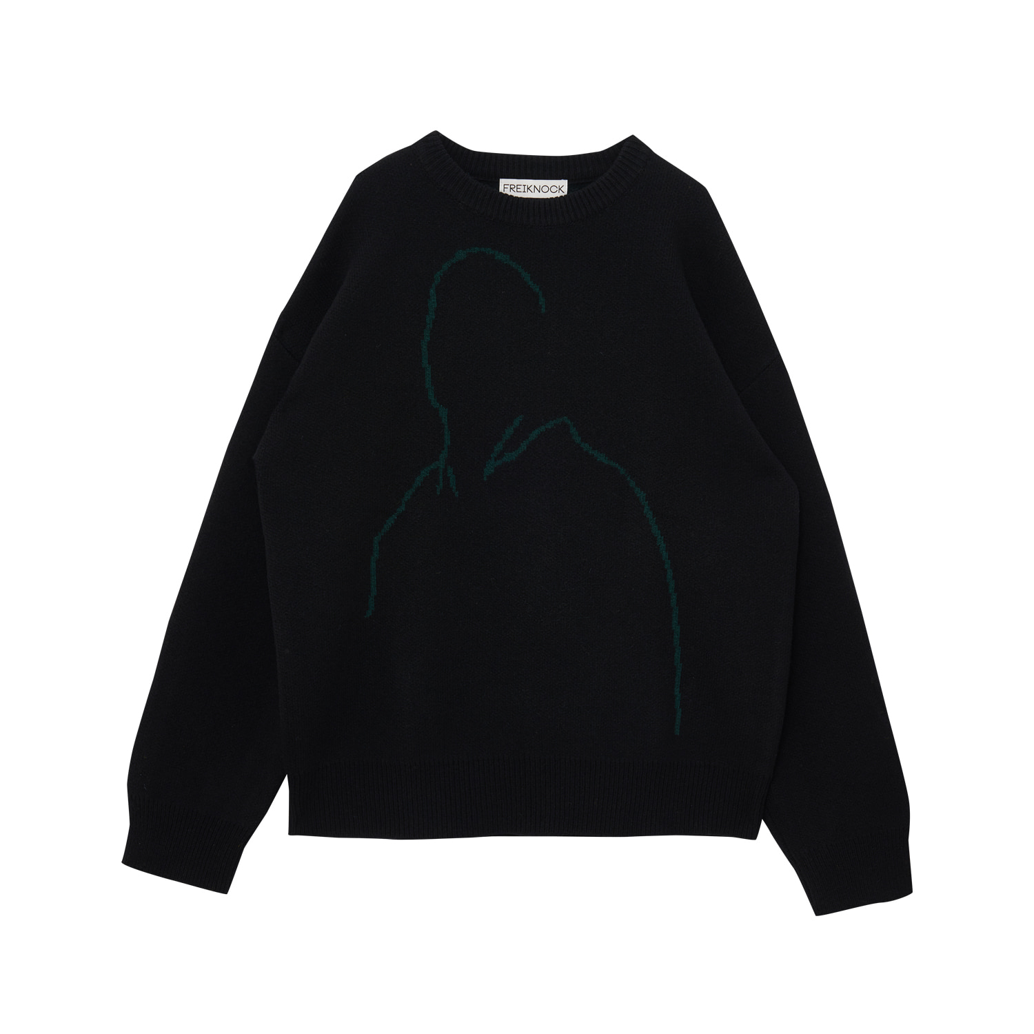 OUTLINE DRAWING KNIT PULLOVER(BLACK)