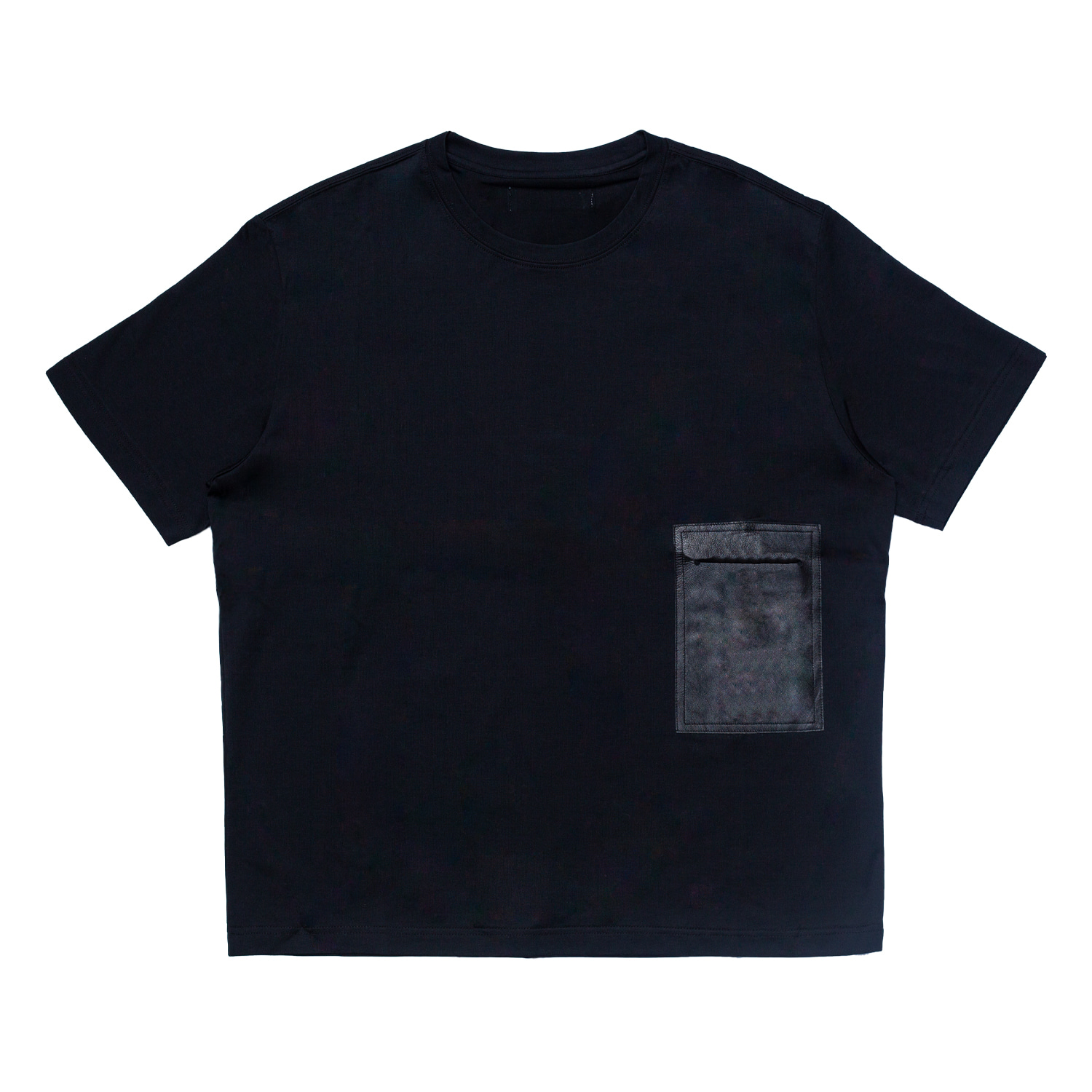 LEATHER POCKET TSHIRT(BLACK)