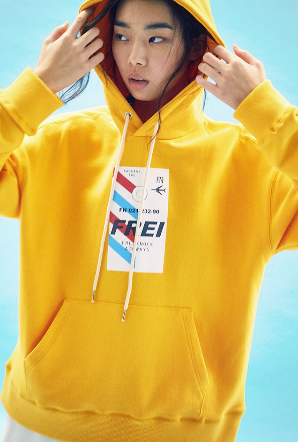 FLY TICKET PRINTED HOODIE(YELLOW)