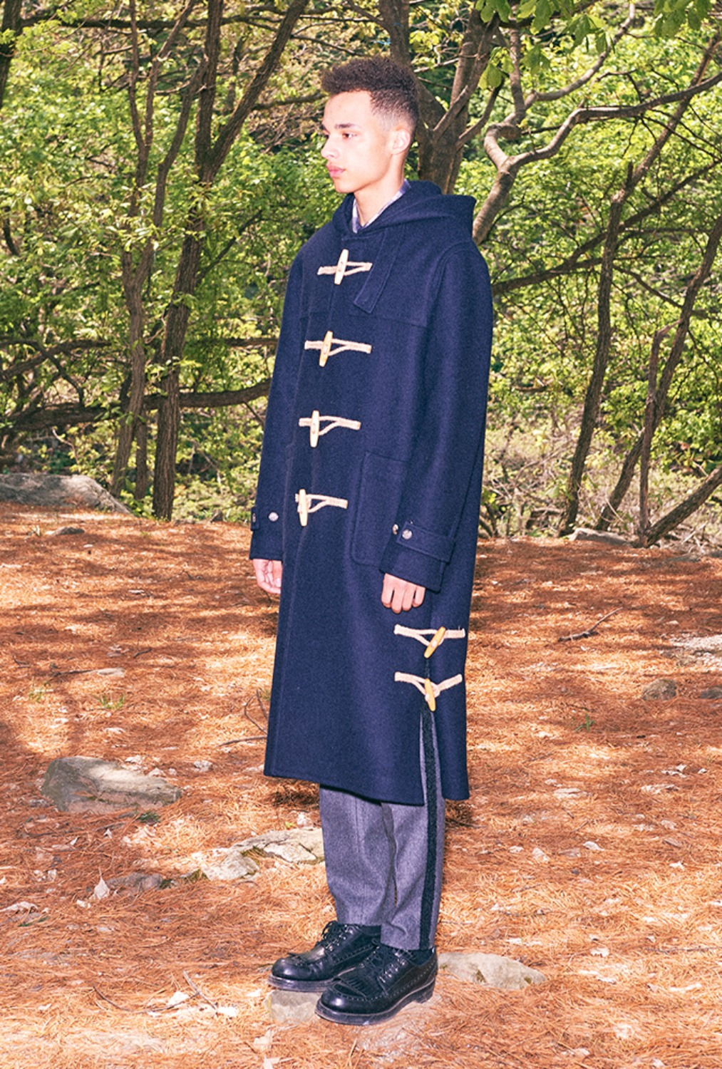 HOODED DUFFLE LONG COAT(NAVY)
